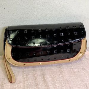 Arcadia RARE Patent Leather Stud Clutch Wristlet